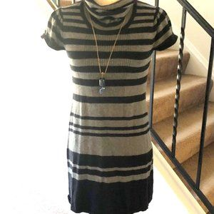 Calvin Klein stripe Gray and black sweater dress
